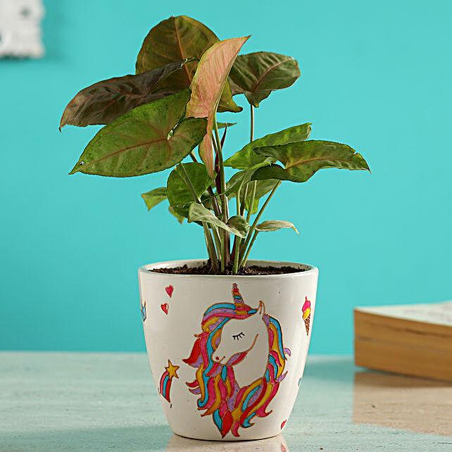 Pink Syngonium Plant In Unicorn Pot