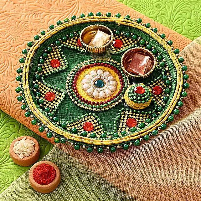 Stunning Green Bhaidooj Pooja Thali