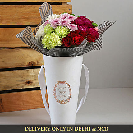 Mixed Flowers In White Cardboard Box Gift Flower Cardboard Box Arrangement Ferns N Petals