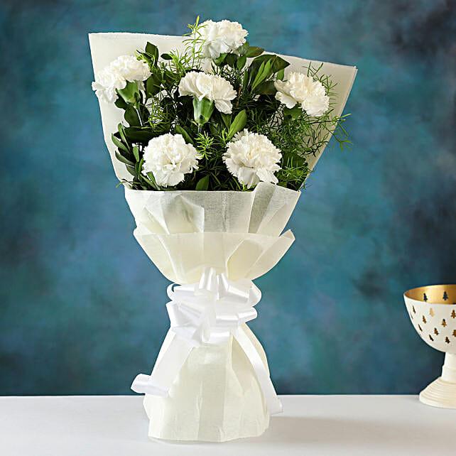 Online Order White Carnations Bunch