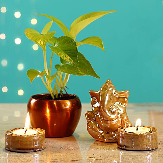 Beige Ganesha Idol & Candles With Money Plant