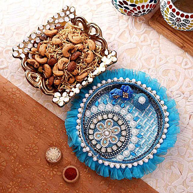 Beautiful Blue Pooja Thali With Mewa Dalmoth Combo