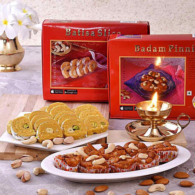 Chhappan Bhog Badam Pinni & Batisa Slice With Brass Deep