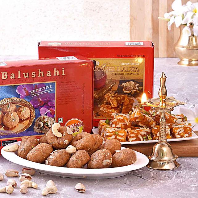 Chhappan Bhog Balushahi & Karachi Halwa With Kerala Deep:Diyas