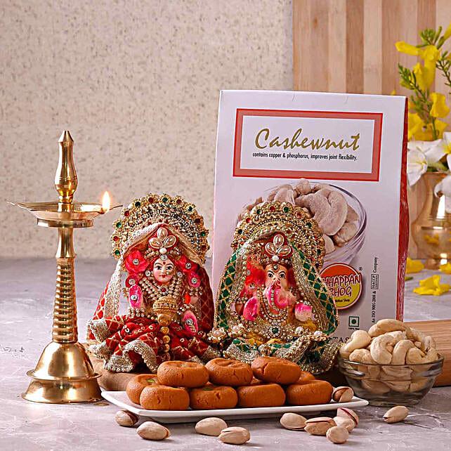 Chhappan Bhog Diwali Hamper With Kerala Deep & Lakshmi Ganesha Idols