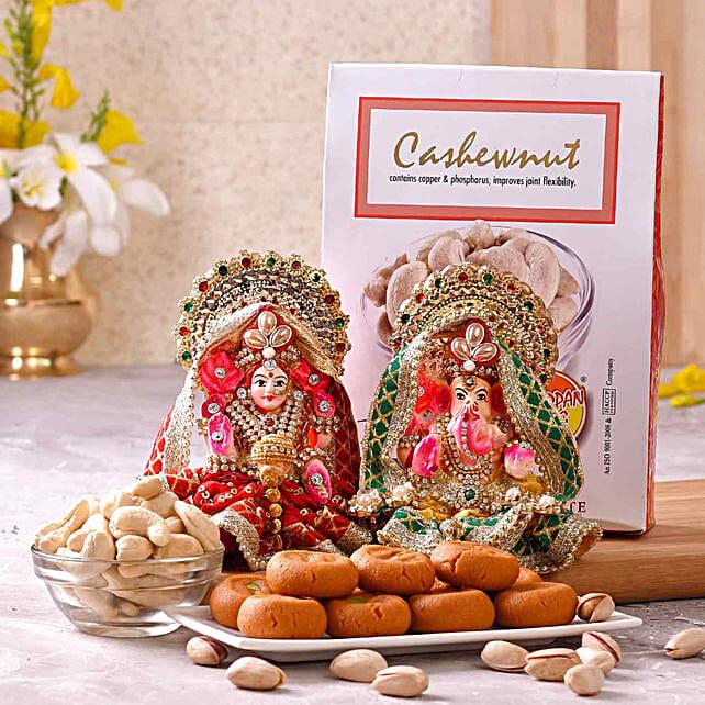 Chhappan Bhog Kesar Peda & Cashews Pack With Lakshmi Ganesha Idols