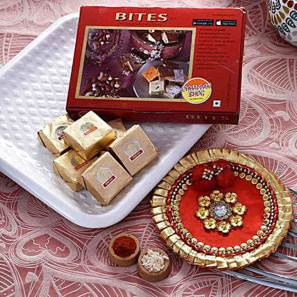 Gorgeous Red Pooja Thali With Mewa Bite Combo