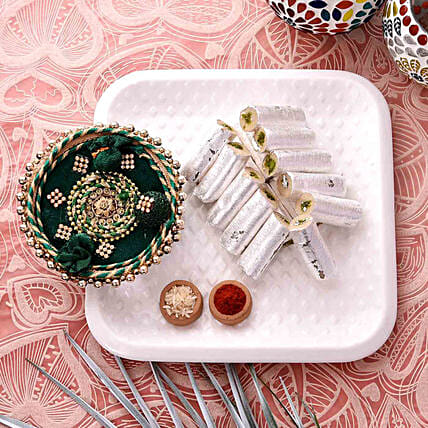Green Pooja Thali With Pista Roll Combo