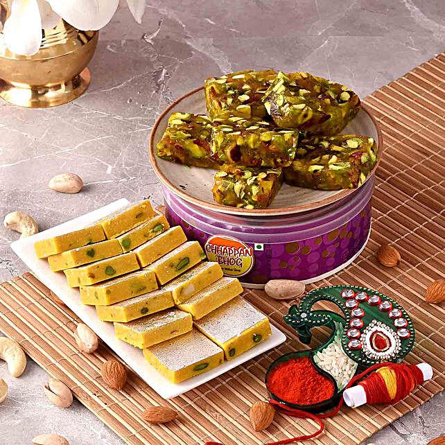 Pista Karachi Halwa & Kaju Kesar Treats With Teeka:Chhappan Bhog Sweets
