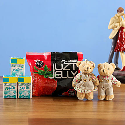 cute teddy bears with happy dent juzt jelly combo