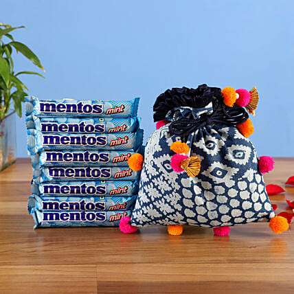 drawstring pouch with mentos combo:Candies