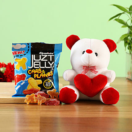 heart teddy bear with juzt jelly candy