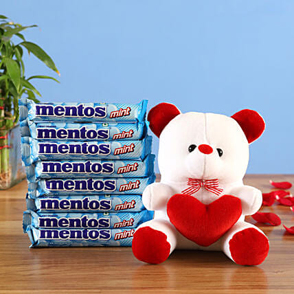 heart teddy chewy mint mentos combo:Romantic Soft toys