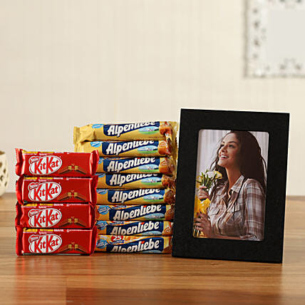 personalised photo frame with kitkat candies