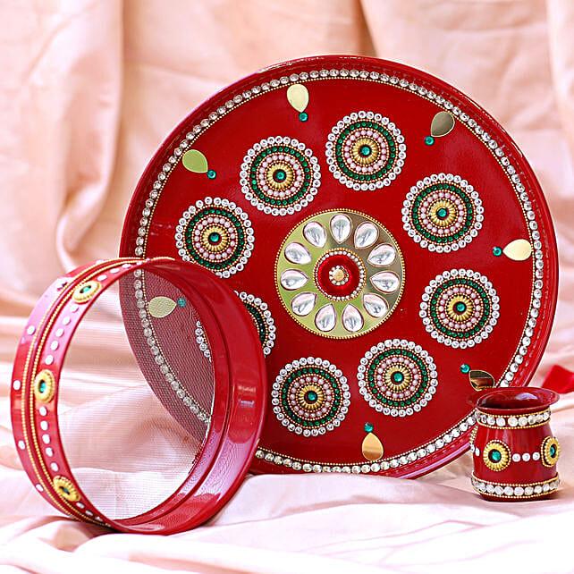 Red Kundan Craft Karwa Chauth Thali Set