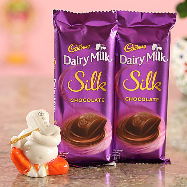 Cadbury Silk Set Of 2 Chocolates & Ganesha Idol Combo  Online