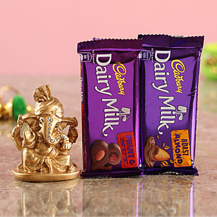 Online Dairy Milk Roast Almond Combo & Golden Ganesha Idol