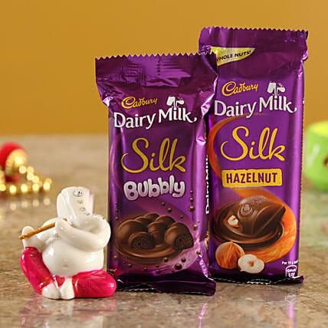 Dairy Milk Silk Hazelnut Bubbly Combo & Magenta Ganesha Idol  Online