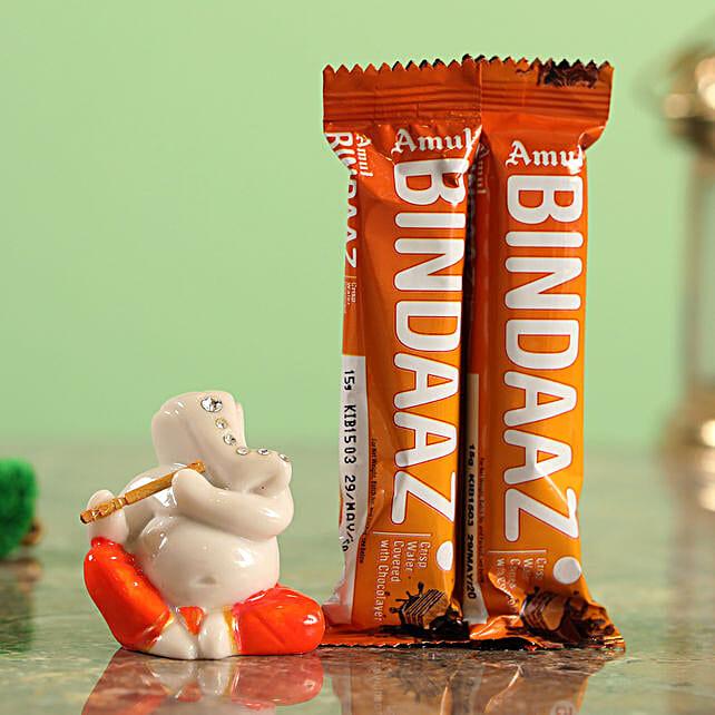 Delicious Bindaaz Wafer Choco Bars & Festive Ganesha Idol Combo  Online