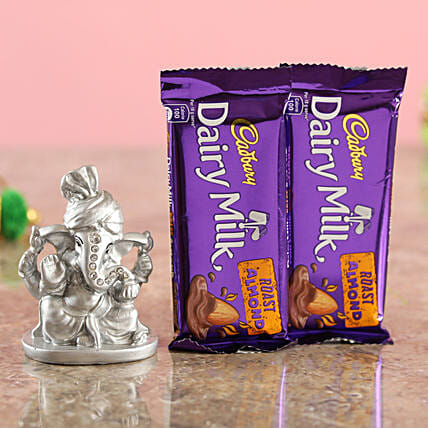 Online Delicious Roast Almond Chocolates & Silver Festive Ganesha Idol