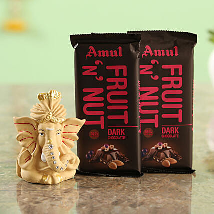 Two Amul Fruit N Nut Chocolates & Beige Ganesha Idol Combo  Online