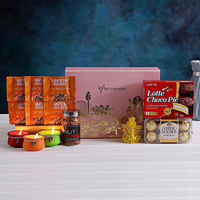 Floral Diwali Box Hamper Pagdi Ganesha Rocher