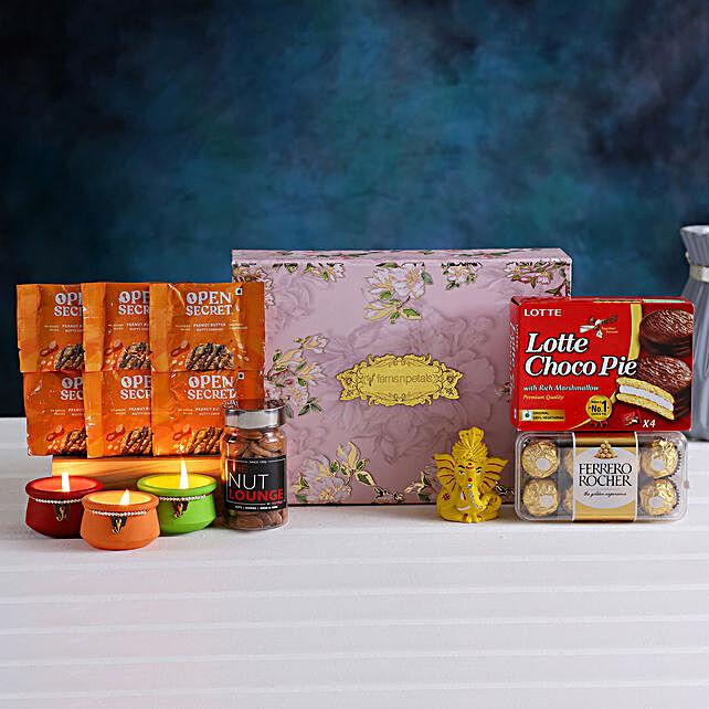 Rose Design Diwali Box Hamper Cookies Diyas