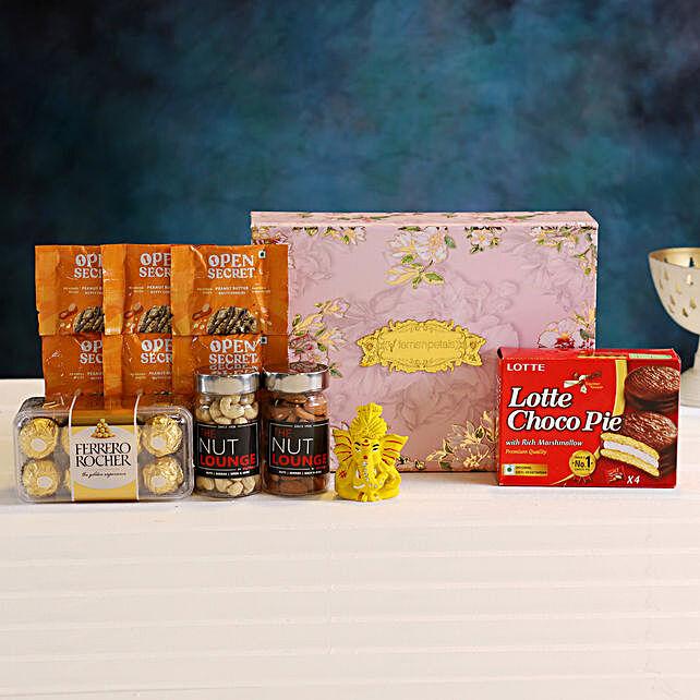 Rose Design Diwali Box Hamper Cookies Dry Fruits