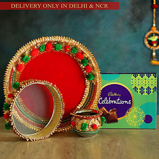 Red Karwa Chauth Thali Set & Cadbury Celebrations:Karwa Chauth All Gifts