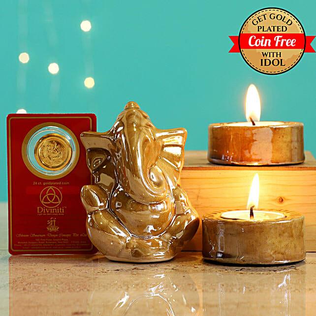 24 Carat Gold Plated Coin Free With Beige Ganesha Idol Diwali Hamper