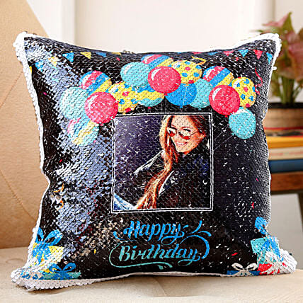 personalised sequin cushion for birthday:Personalised Sequin cushions