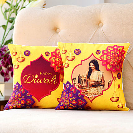 set of 2 personalised cushion for diwali