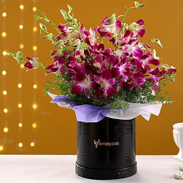 Beautiful Purple Orchids Box Arrangement