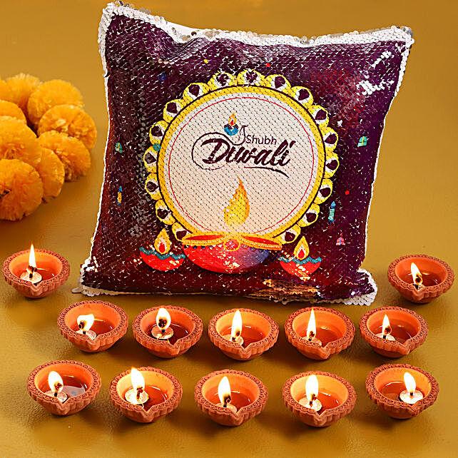 Send Sequin Cushion with Diya Set