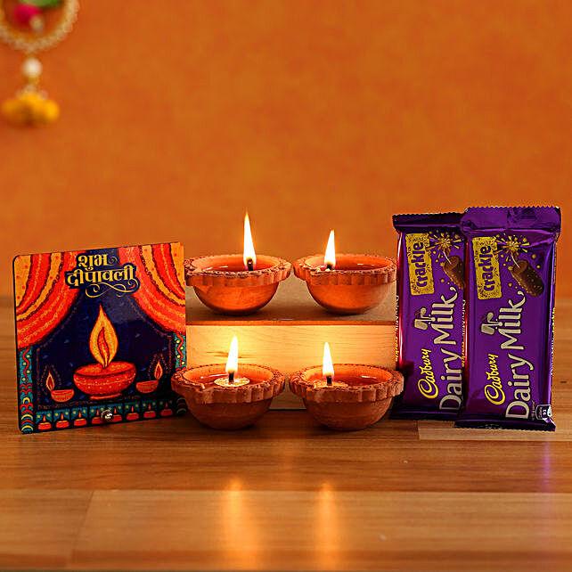 Diwali Diya Table Top With Cadbury Crackle Diyas