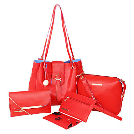 Bagsy Malone Tote Bag Combo of 5- Red