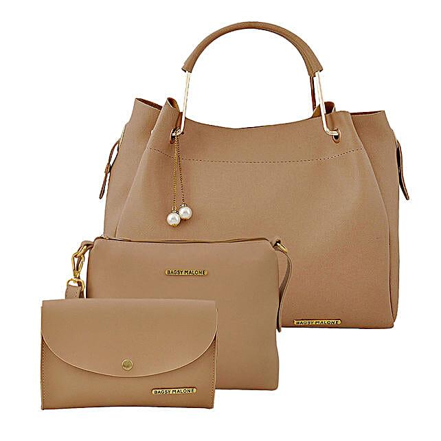 Bagsy Malone Women's Tote Combo Bag- Beige:Buy Purse