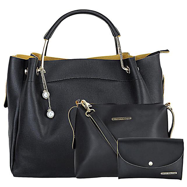 Bagsy Malone Women's Tote Combo Bag- Black