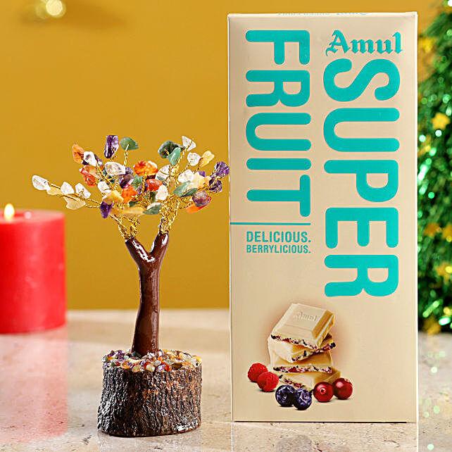 Colourful Stone Wish Tree & Amul Super Fruit Chocolate:Buy Christmas Tree