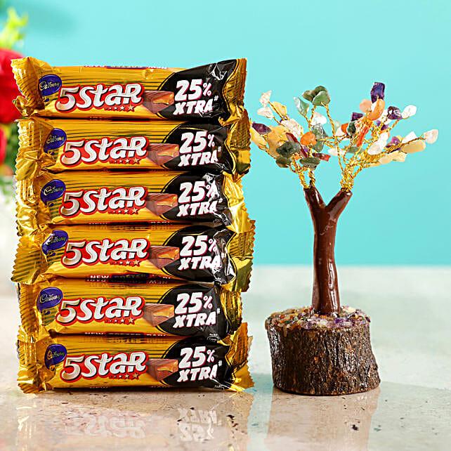 Colourful Stone Wish Tree & Cadbury 5 Star