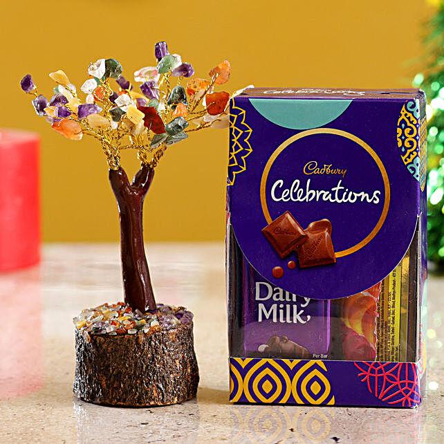 Colourful Stone Wish Tree & Cadbury Celebrations Mini:Christmas Tree
