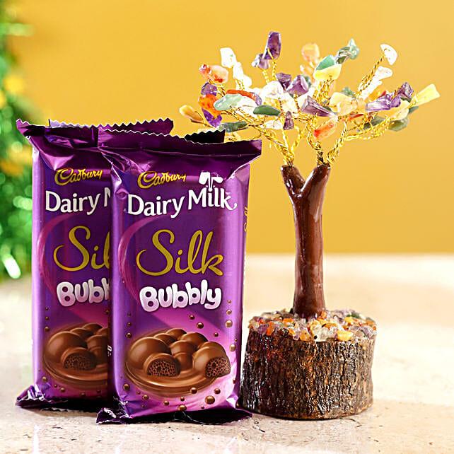 Colourful Stone Wish Tree & Cadbury Silk Bubbly