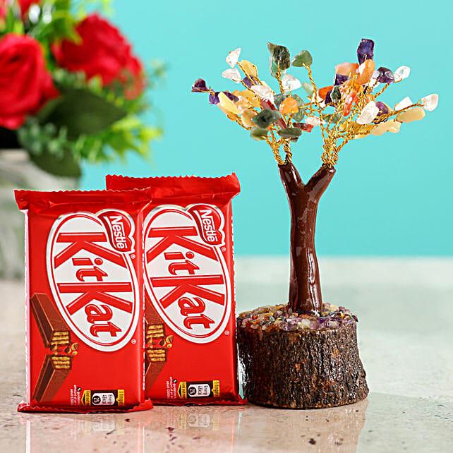 Colourful Stone Wish Tree & Kitkat