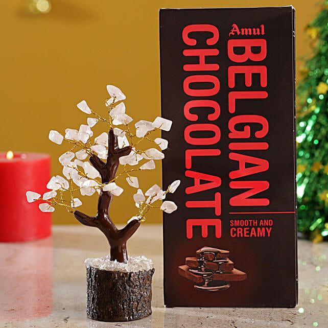 Rose Quartz Wish Tree & Amul Belgian Milk Chocolate:Christmas Tree
