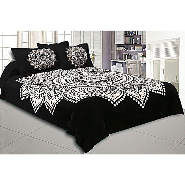 Big Black & White Rangoli Print Bed Sheet Set