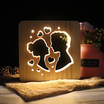 3D Wooden LED Night Light Lamp Couple:Send Gifts to Itanagar