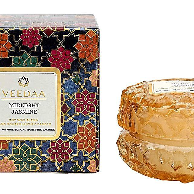 Veedaa Crystal Midnight Jasmine Scented Candle Jar