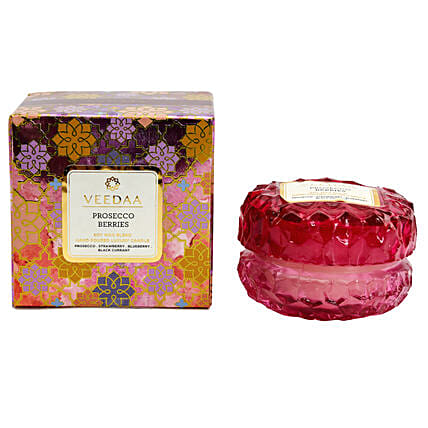 Veedaa Crystal Prosecco Berries Scented Candle Jar