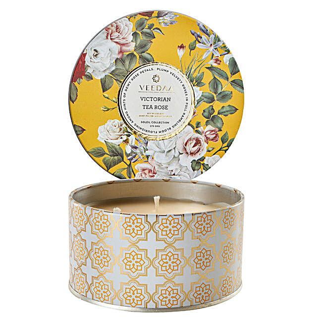 Veedaa Victorian Tea Rose Scented Candle Tin