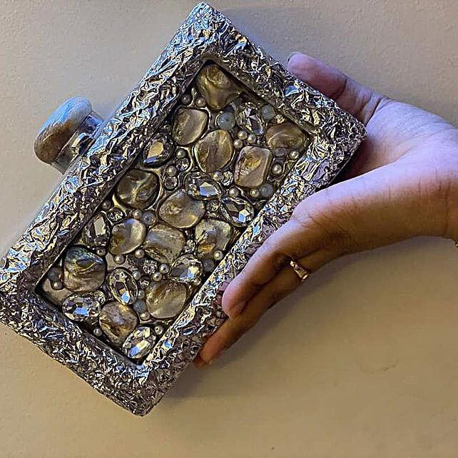 Silver MOP Clutch Bag